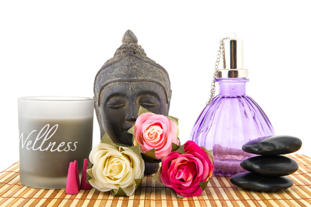 Stilllife with wellness objects as buddha towels and roses photo