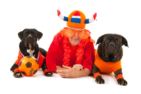 fanatic studio: man with his dogs laying with Dutch colors and orange sweaters as sports fans isolated over white background