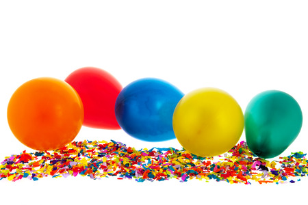blowed: Colorful confetti and balloons isolated over white background