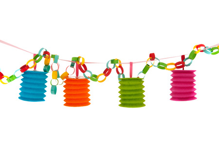 colorful festive paper chain with Chinese lanterns