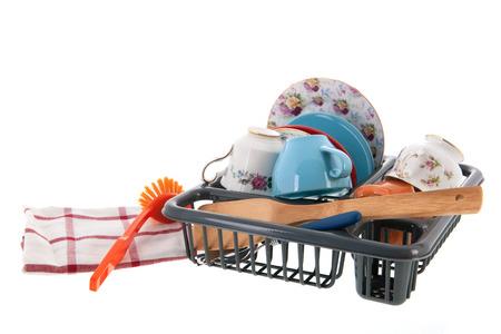 manually: Washing the dishes manually isolated over white background