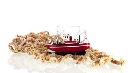 trawler net: fishing net with trawler isolated over white background