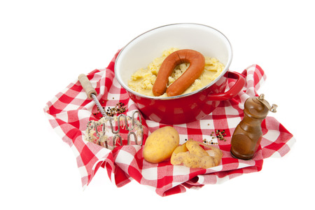 Typical Dutch sauerkraut on checked cloth  photo