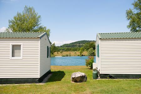 Campsite with caravans in nature