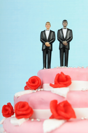 Pink wedding cake with red roses and gay couple  isolated over white background