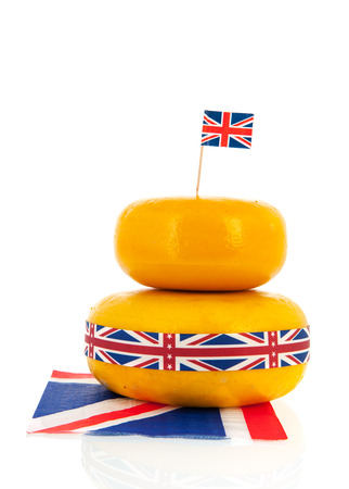 cheez: English or British cheese with flag ribbon