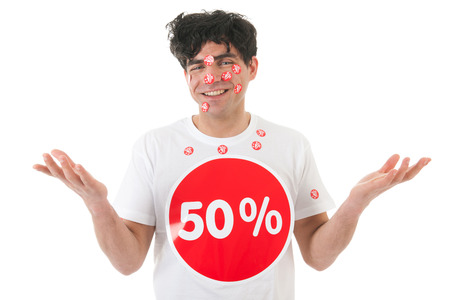 Man with stickers of 30 percent discount in face photo