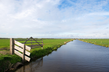 fench: Landscape with fench and ditch in dutch polder Arkemheen