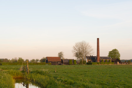 polder: Landscape with Dutch pumping station for regulate the water level in polder Arkemheen