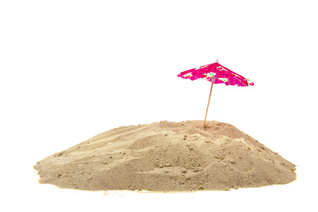 paper umbrella: Pink parasol at the beach isolated over white background