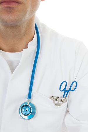 Male doctor with stethoscope isolated over white  photo