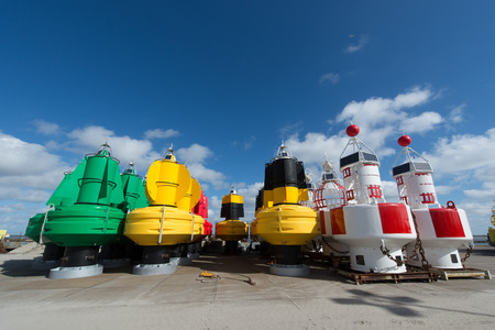 buoys: Colorful buoys in stock at the Dutch wadden island Terschelling