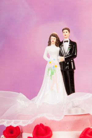 Couple on top of pink wedding cake with red roses  photo