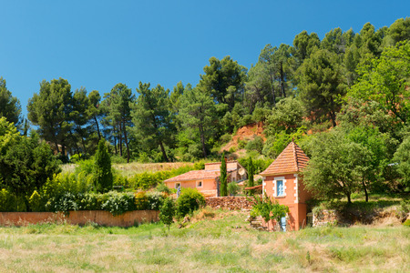 roussillon: Landscape with houses in village Roussillon in France