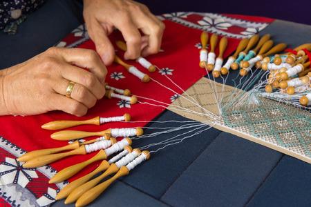 bobbin: Woman making bobbin lace