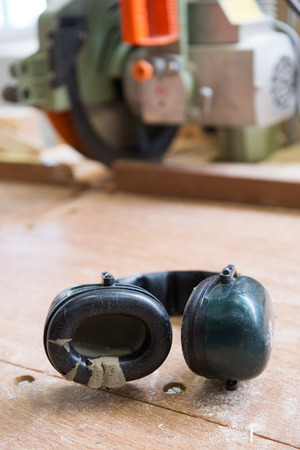 loud noise: headphones for ear protection while loud noise Stock Photo