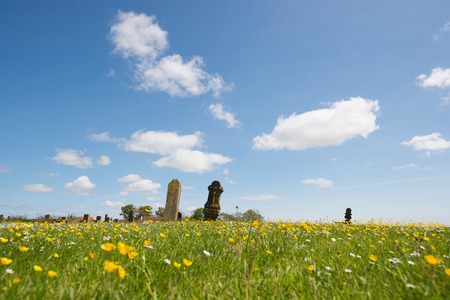 wadden: Typical stone at the graveyard in Striep on Dutch wadden island Terschelling