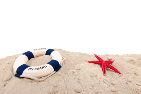cruis: Life buoy wih welcome on board at the beach