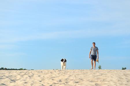 st bernard: Man walking his giant St. Bernard puppy in nature