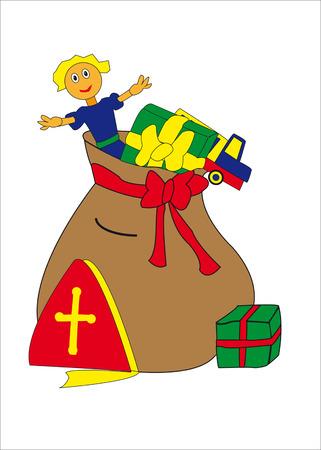 sinterklaas: Full bag with toys and presents for Dutch Sinterklaas holidays
