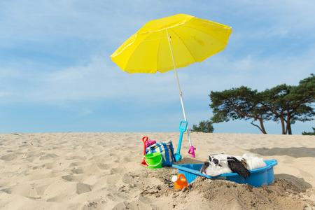 Cane divertente sta avendo un raffreddamento con acqua e ombrellone in spiaggia in estate