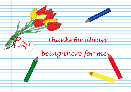Card Thanks for always being there for me with pencils and flowers Vector