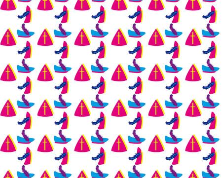 mitre: Dutch seamless sinterklaas background Illustration