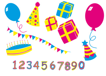 Birthday party attributes for celebration Vector