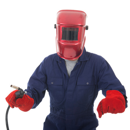 man with welding mask and gas gun isolated over white background photo