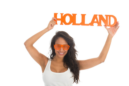 dutch girl: Black woman supporter for the Dutch team isolated over white background