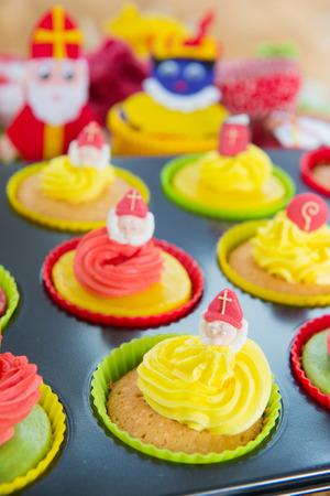 Selfmade Dutch Sinterklaas cupcakes photo