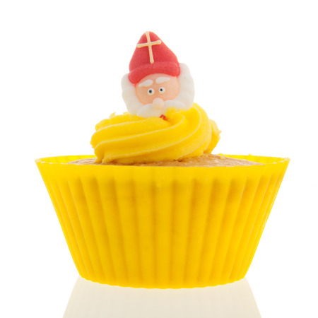 Dutch cupcake for Sinterklaas holidays isolated over white background photo