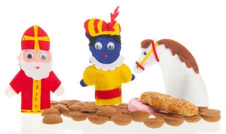 sinterklaas: Handmade puppets and typical candy for Dutch Sinterklaas holidays