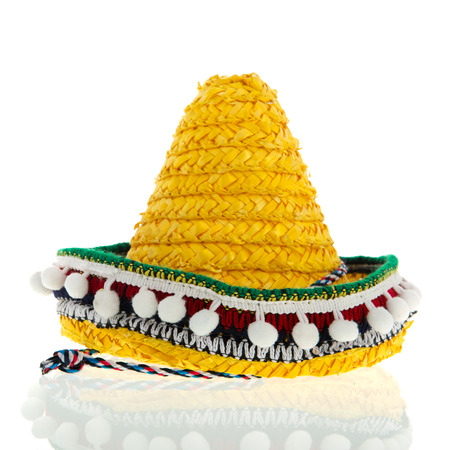 Yellow Spanish Sombrero isolated over white background photo