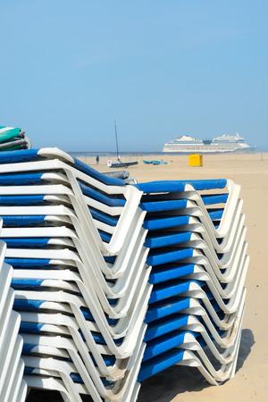 ijmuiden: deck chairs at the beach from Dutch IJmuiden
