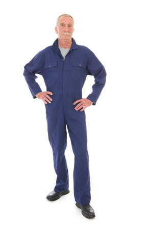 Senior laborer in blue work wear isolated over white background photo