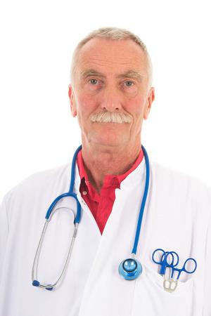 Portrait senior physician on white background photo