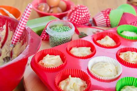 Baking cupcakes for Christmas photo
