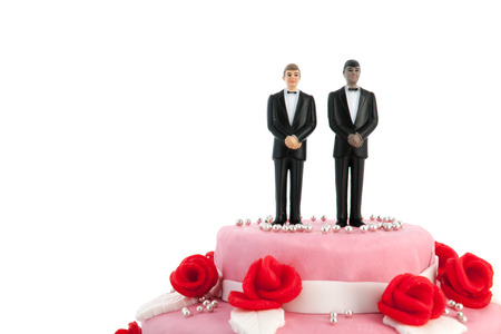 Pink wedding cake with red roses and gay couple on top photo