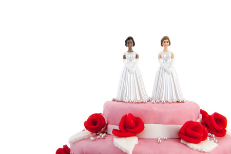 Pink wedding cake with red roses and lesbian couple on top Foto de archivo