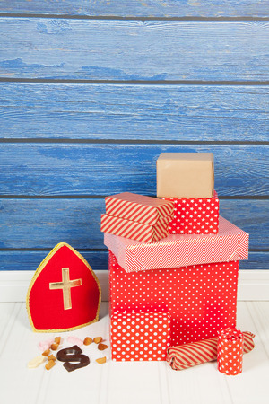 dutch typical: Typical Dutch Sinterklaas holidays with gifts, mitre and letter