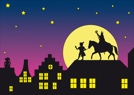 Typische Nederlandse Sinterklaas Stock Illustratie
