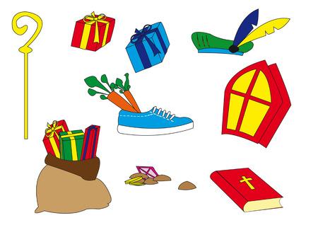 sinterklaas: Several typical Dutch Sinterklaas attributes isolated over white background
