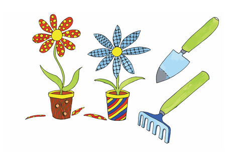 Plants with creative flowers and garden equipment Vector