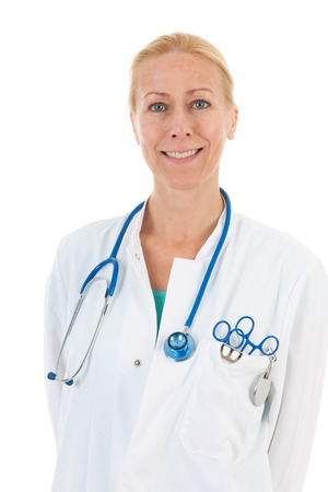 Portrait Physician with stethoscope isolated over white  photo
