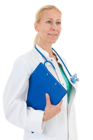 Physician with blue clipboard isolated over white  photo