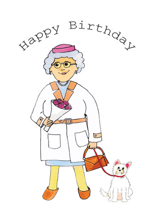 At your birthday grandma with dog on visit isolated over white background Vector