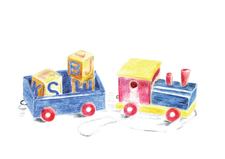 Hand painted wooden toy train with blocks isolated over white background Vector