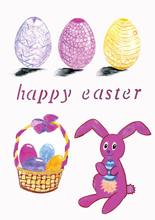 Hand drawn vector of easter hare, eggs and basket Vector