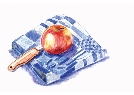 hand painted illustration of peeling an apple Vector